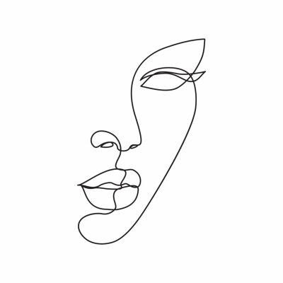 Fototapeta Woman face line drawing art. Abstract minimal female face icon, logo