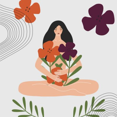 Fototapeta Woman health and gynecology concept. Wild and natural female beauty. Beautiful pregnant naked asian girl holding bouquet of flowers. Idea of fertility, body positivity. Flat vector illustration