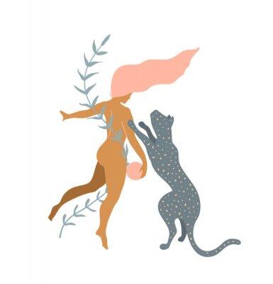 Fototapeta Woman naked and Wild Cat minimal silhouette modern art print design.