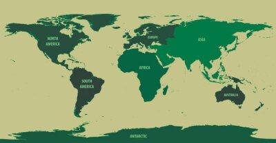 Fototapeta World Map Green S kontinent Názvy