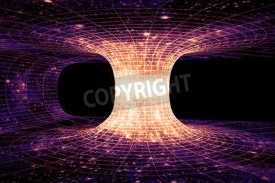 Fototapeta Wormhole, nebo Einstein-Rosen most, je hypotetická zkratka spojení dvou samostatných bodů v časoprostoru.