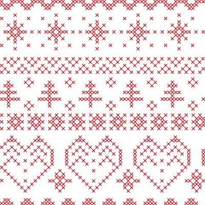 Fototapeta Xmas bezešvé vzor inspirovaný severských křížovými vzory