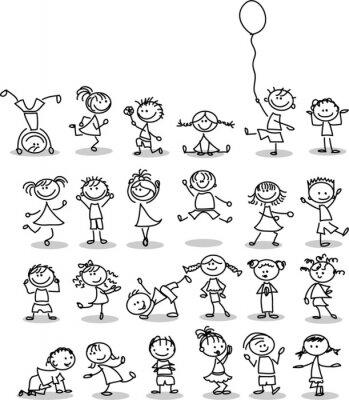 Fototapeta Симпатичные счастливых детей мультфильм