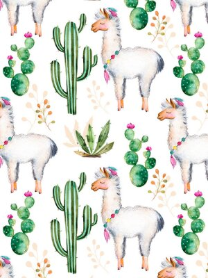 Fototapeta exture s vysoce kvalitní ručně malované akvarelem prvky pro svůj design s kaktusů, květinami a lama.For své jedinečné stvoření, tapety, pozadí, blogy, vzor, pozvánky a další