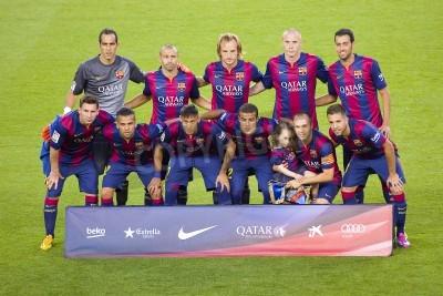 Fototapeta FCB hráči představují pro fotky na Gamper přátelský zápas mezi FC Barcelona a FC Club Leon, konečné skóre 6-0, 18. srpna 2014 v Camp Nou, Barcelona, Španělsko