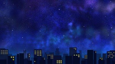 Fototapeta 星空と光る街並み(ワイド)