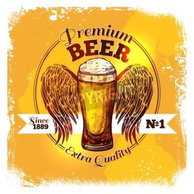 Fototapeta Premium značka kvality piva s skica sklenkou pití s ornament vektorové ilustrace