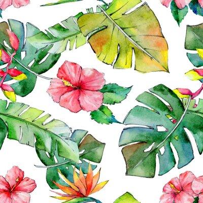 Fototapeta Tropické Havaj opouští vzorek ve stylu akvarelu. Aquarelle divoká květina na pozadí, textura, obal vzor, rám nebo hranice.
