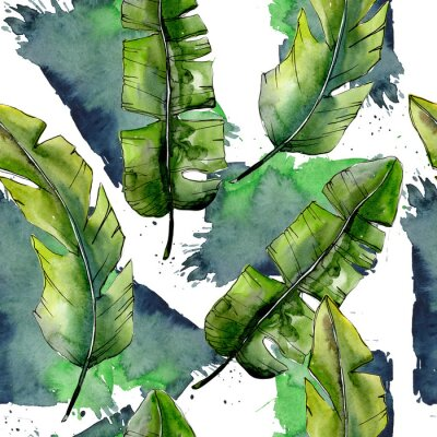 Fototapeta Tropické zelené lesky ve stylu akvarelu. Akvarelové listy na pozadí, textura, obalový vzor, rám nebo okraj.