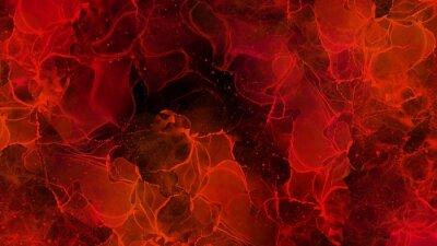 Fototapeta 赤と黒の鮮やかなアルコールインクアートの背景テクスチャ素材