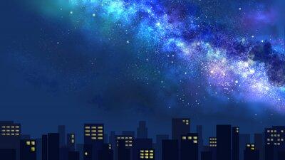 Fototapeta 天の川が流れる夜空と光る街並み(ワイド)