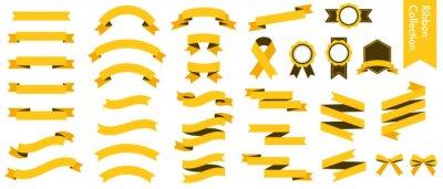 Fototapeta 黄色のリボンのベクターイラストセット(xmas,X'mas,クリスマス,シームレス,フラット)
