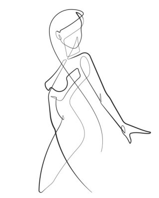Fototapeta Young Woman One Continuous Line Abstract Vector Icon Graphic Drawing