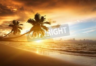 Fototapeta západ slunce na pláži karibském moři