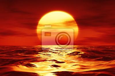 Fototapeta západ slunce nad divokým mořem