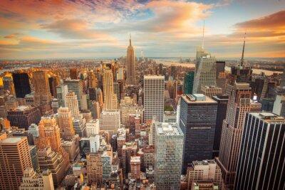 Fototapeta Západ slunce pohled na New York City dívá na Manhattanu