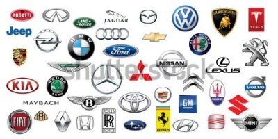 Fototapeta ZAPOROZHYE, UKRAINE - DECEMBER 20, 2017: Logos collection of different brands of cars, printed on paper