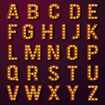 Fototapeta Žárovka abecedy Set
