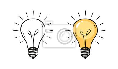Fototapeta Žárovka skica. Elektrické světlo, energetické koncepce. Ručně kreslenou vektorové ilustrace