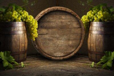 Fototapeta Zátiší z vína s dřevěným sudem