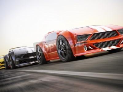 Fototapeta Závod, exotické sportovní vozy závodění s motion blur. Generic zakázku fotorealistické 3D vizualizace.