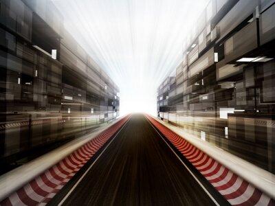 Fototapeta závodní dráha ve skle obchodní centra pozadí