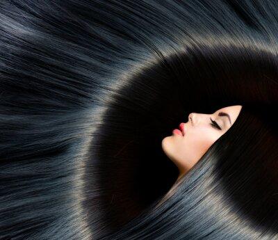 Fototapeta Zdravé dlouhé černé vlasy. Beauty Brunette Žena