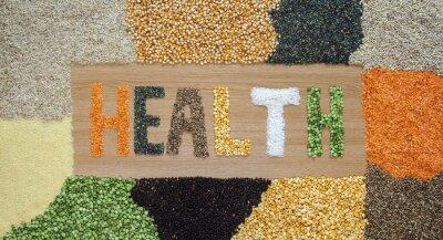 Fototapeta Zdraví a zdravá výživa - zrna, semena, luštěniny, rýže - organické.