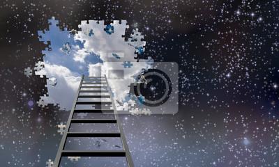 Fototapeta Žebřík do díry v noční obloze