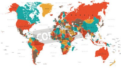 Fototapeta Zelená Červená Žlutá Hnědá World Map - hranice, země a města - ilustrace