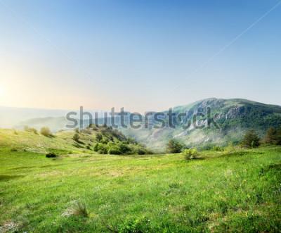 Fototapeta Zelená louka na pozadí krymských hor