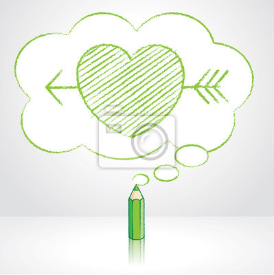 Zelena Tuzka Kresleni Sipkou Pres Srdce V Nadychane Cloud Myslenkovy