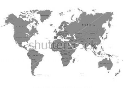 Fototapeta Země, mapa světa na bílém pozadí. Antarktida. Vektorové ilustrace
