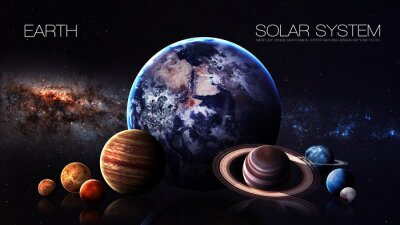 Fototapeta Země - rozlišení 5K Infographic představuje jeden ze sluneční soustavy planety. Tyto obrazové prvky poskytované NASA