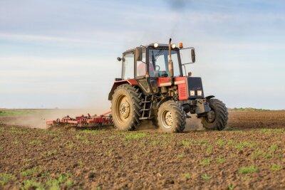 Fototapeta Zemědělec obhospodařující orná půda před naočkováním
