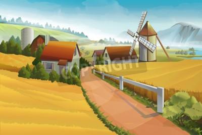 Fototapeta Zemědělské pozadí venkovské krajiny
