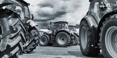 Fototapeta zemědělství traktor line-up, pluhy a stroje