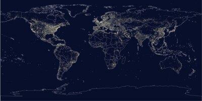 Fototapeta Zemská město rozsvítí politické mapy