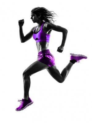 Fototapeta Žena běžec běží běžec běhání silueta