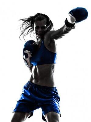 Fototapeta Žena boxer box kickboxing siluetu izolovaných