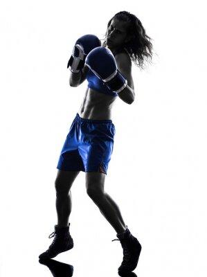 Fototapeta Žena boxer boxování kickbox silueta