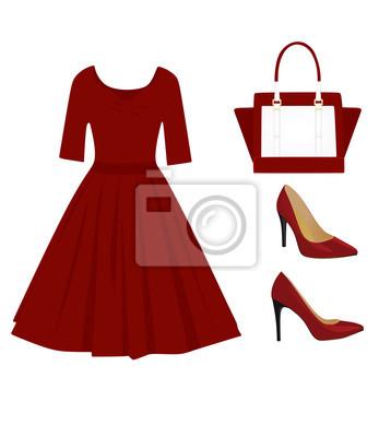313ab934b6c9 Fototapeta Žena červená outfit set
