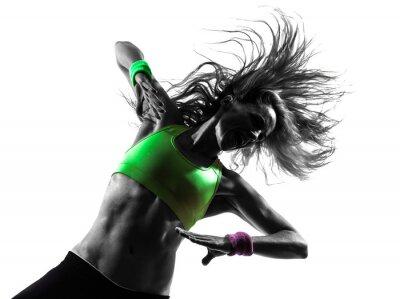 Fototapeta žena cvičení fitness Zumba taneční siluetu