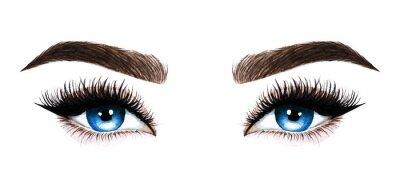 Fototapeta Žena oči s dlouhými řasami. Ručně tažené akvarel ilustrace. Řasy a obočí. Design pro prodloužení řas, mikrobladění, řasenku, kosmetický salon, kosmetiku, vizážistku. Modré oči.