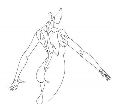 Fototapeta Ženská postava spojitá linie vektorová grafika VI
