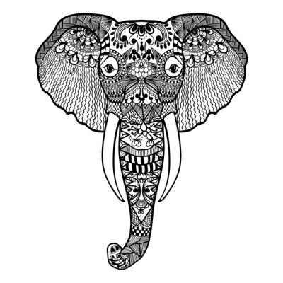 Fototapeta Zentangle stylizované slona. Ručně malovaná krajka vektorové ilustrace