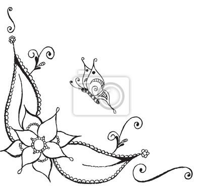 Zentangle Stylizovany Motyl Kvetina Listy Vektorove Ilustrace
