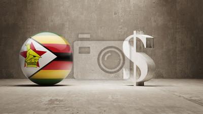 Zimbabwe. Peníze Sign koncept.