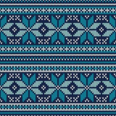 Fototapeta Zimní dovolená Seamless pletený vzor. Fair Isle svetr Ozn