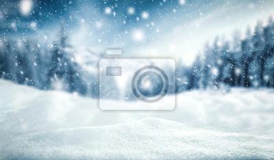 Fototapeta zimní pozadí sněhu a mrazu s krajinou lesa